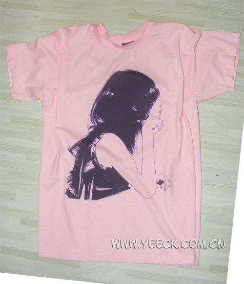 影格科技数码印花样品――浅色T恤(粉色T恤)直印花-提供市场最新数码印花技术